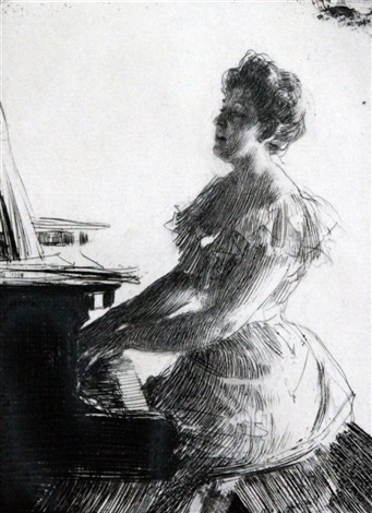 au piano by anders zorn
