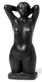 weiblicher halbakt, mit hinter dem kopf erhobenen armen by maren lipp
