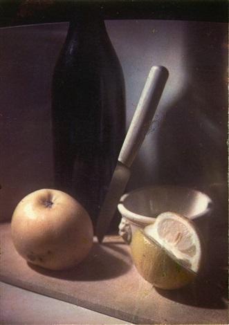 ohne titel stilleben mit messer und zitrone by heinrich freytag