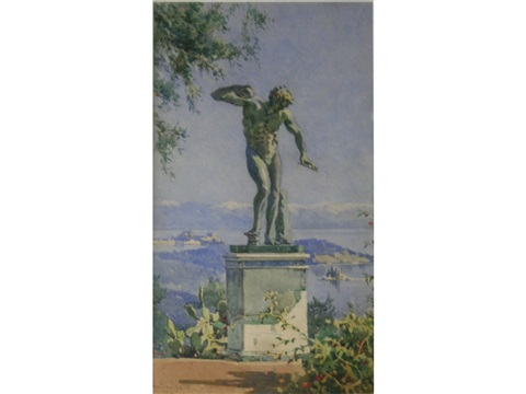 a statue of a dancing faun above corfu by angelos giallina