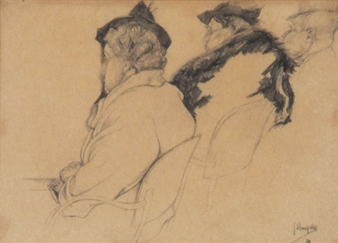 etude de personnages regardant un spectacle study for attendre by jules de bruycker