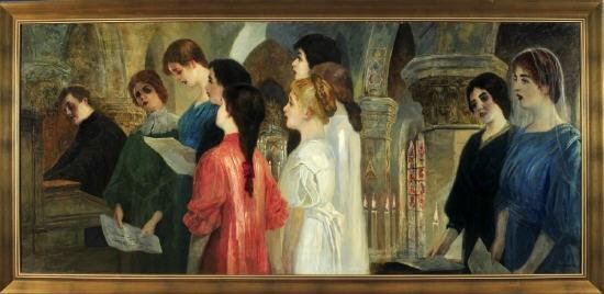 der mädchenchor singt in der kirche by ernst friedrich hausmann