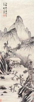 凉亭消夏图 (landscape) by qi zhijia