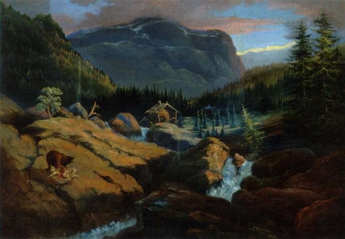 partie af hallingdalen i norge en bjorn er ved at fortære sit bytte by carl anton saabye