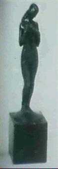 stehender, weiblicher akt mit manteltuch by bruno eyermann