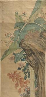 herbstbild mit wachteln vor einer bananenstaude by li guzhuo