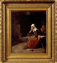young woman sitting by a hearth, brittany by edgar melville ward