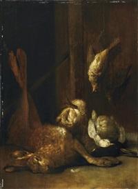 jagdstillleben mit hase und vögeln by cornelis van lelienbergh