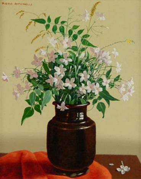 stilleben mit rosé farbenen wiesenblumen in brauner tonvase by piero antonelli