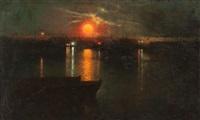 nocturno: puerto de barcelona by luis graner y arrufi
