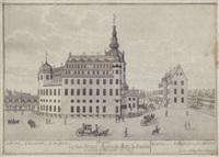 prospect af det kongel: residenz- slott i kiöbenhafn at see fra slottspladsen ano 1698 by johann jacob bruun