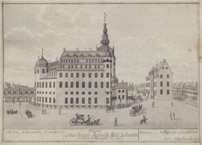 prospect af det kongel residenz slott i kiöbenhafn at see fra slottspladsen ano 1698 by johann jacob bruun