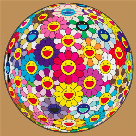 花球-金魚色 花球(两幅) 胶印 the bouquet color of goldfish 3d the bouquet 3d 2 works by takashi murakami