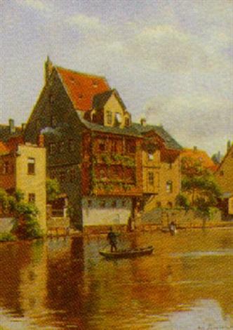 Nürenberg hus ved pegnitz floden i nürenberg by august fischer on artnet