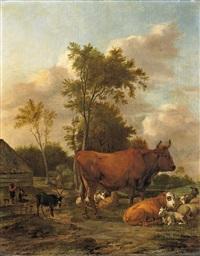 landschaft mit vieh und anglern by albert jansz klomp