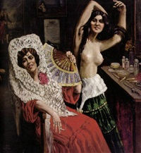 spanische tänzerinnen in reizvollen posen vor schminktisch mit affichen und bildern by lino vesco