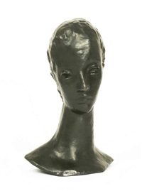 madchenkopf auf schlankem hals, (girl's head on slender neck) by wilhelm lehmbruck