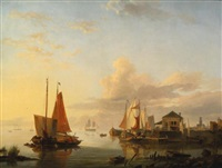 dutch boats by hermanus koekkoek the elder