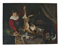 wildpretverkäuferin. junge frau bietet hasen, enten und tauben an by marquard (freiherr) von leoprechting