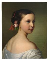 portrait eines jungen mädchens mit rosenblüten im haar und goldenem pendeloque by friedrich krepp