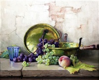 still life of fruit and brass pans on a wooden ledge by robert chailloux