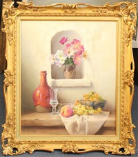still life of fruit and flowers on a ledge by robert chailloux