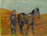 horse and figure in a landscape by henryk gotlib