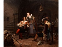 der lautenspieler im kellergewölbe mit junger magd und schlafenden kumpanen by axel gustav hertzberg