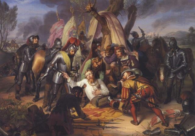 kurfysten moritz von sachens dod i slaget ved sieverhausen i 1553 by carl christian vogel von vogelstein