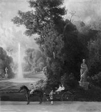 zweispännige kutsche im park by felix kreutzer
