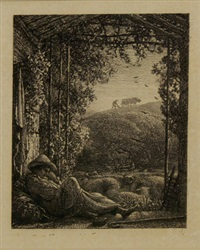 the sleeping shepherd by samuel palmer