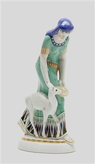 ägypterin mit reh (from hochzeitszug) by adolf amberg