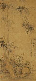 兰竹图 镜心 纸本 by qian zai