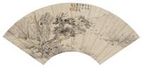 松下坐禅图 (landscape) by jiang baoling
