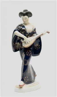 japanerin mit mandoline (from hochzeitszug) by adolf amberg