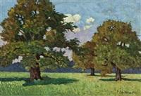blick in weite wiesenlandschaft zur mittagsstunde, mit knorrigen laubbäumen im vordergrund by eugen ankelen