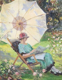 woman reading beneath a parasol by james hamilton mackenzie