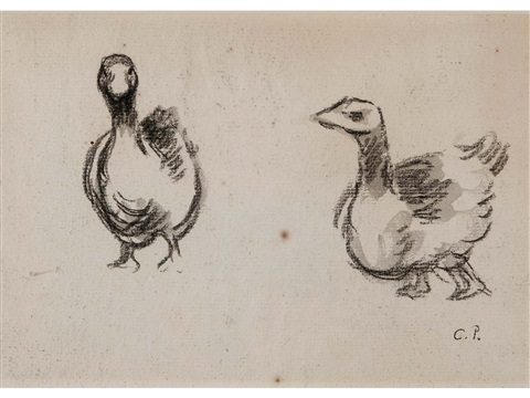 study of geese recto study of a dog verso by camille pissarro