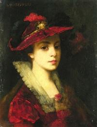 portrait einer jungen dame mit hut by henryk piatkowski