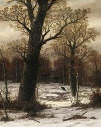 eichen im winterwald by caesar bimmermann