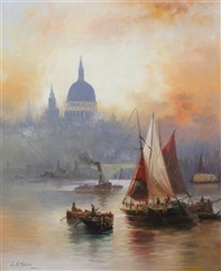 st pauls from the thames by edward henry eugene fletcher