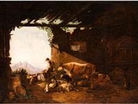 blick in ein stallgebäude mit ausblick aufs hochgebirge by johann jakob dorner the younger