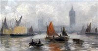 shipping on the thames (+ shipping on the thames; pair) by edward henry eugene fletcher