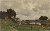 landschaft mit weiher, bäumen, häusern, figuren- und tierstaffage by victor de papelen (papeleu)