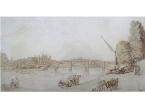the thames richmond bridge by thomas rowlandson