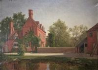 england. blick auf ein malerisches herrenhaus im sonnigen licht by georg eduard otto saal