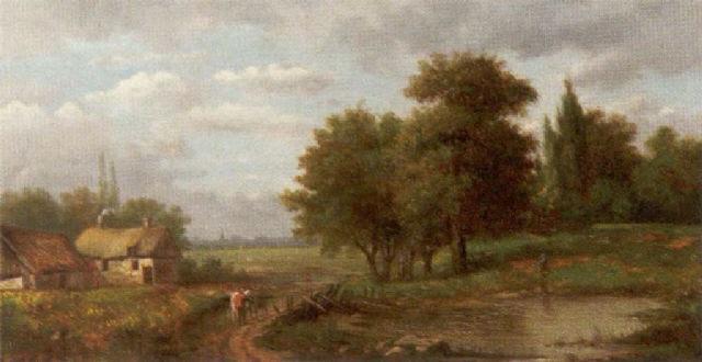 ländliche szene bauernkaten vor der silhouette einer sadt by maximilien lambert gelissen