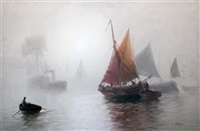 shipping in the mist by edward henry eugene fletcher