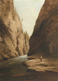 fisherman on rocks by stream by charles lanman