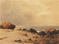figures on rocky coast by charles lanman
